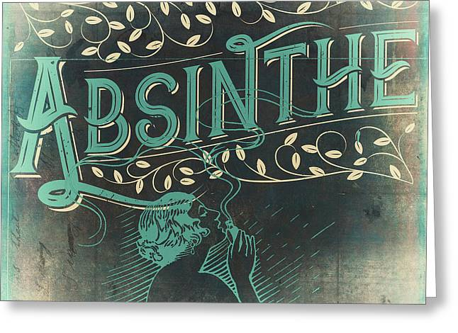 Vintage Absinthe Label Greeting Card by Mindy Sommers