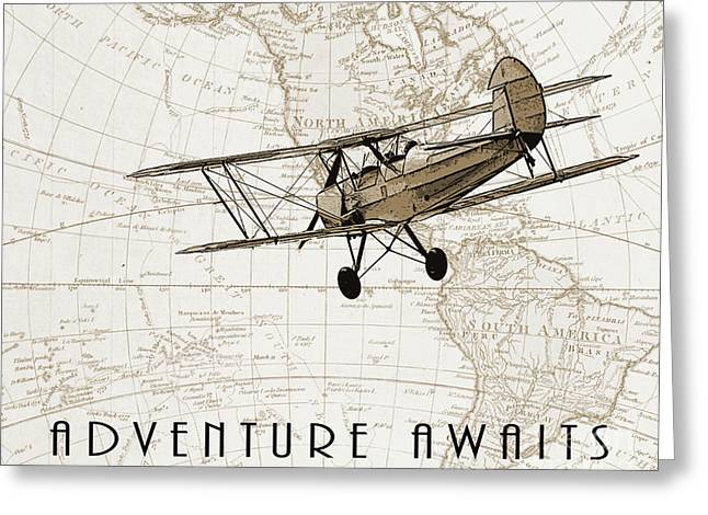 Vintage Adventure Greeting Card by Delphimages Photo Creations