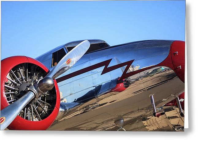 Vintage Aircraft - Lockheed Electra Jr. Greeting Card by Steve Skinner