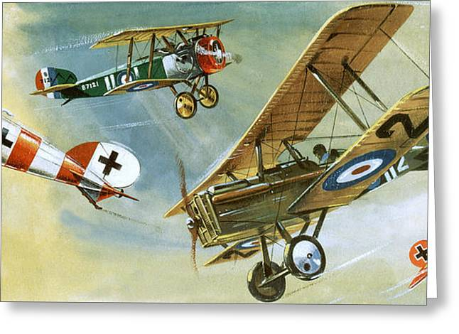 Vintage Aircraft Greeting Card by Wilf Hardy