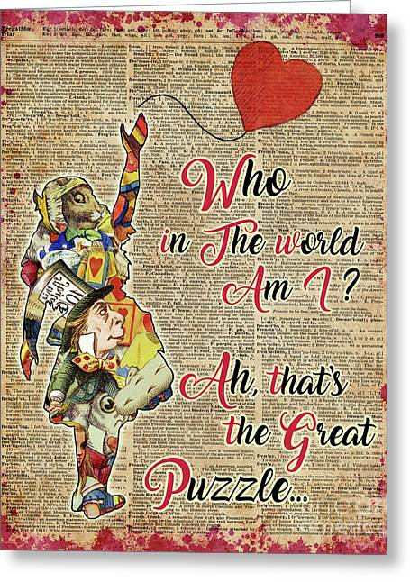 Vintage Alice In Wonderland Collage Who In The World Am I Quote Greeting Card by Jacob Kuch
