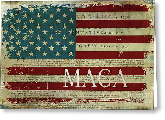Vintage American Flag Americana Maga Declaration Of Independence Greeting Card
