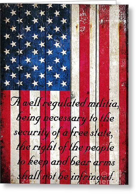 Vintage American Flag And 2nd Amendment On Old Wood Planks Greeting Card