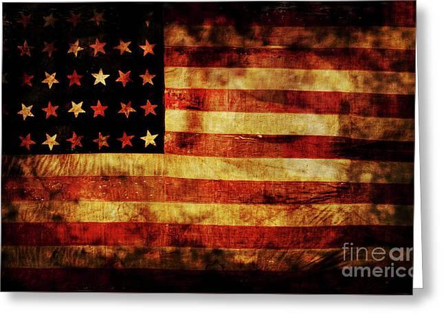 Vintage American Flag Greeting Card by Jon Neidert
