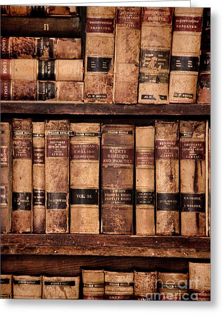 Greeting Card featuring the photograph Vintage American Law Books by Jill Battaglia