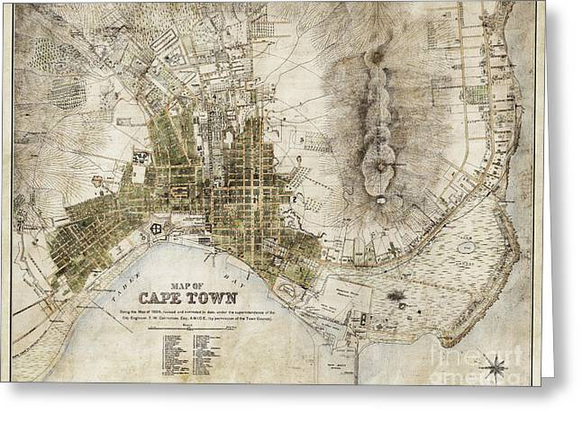 Vintage Antique Cape Town South Africa City Map Greeting Card by ELITE IMAGE photography By Chad McDermott