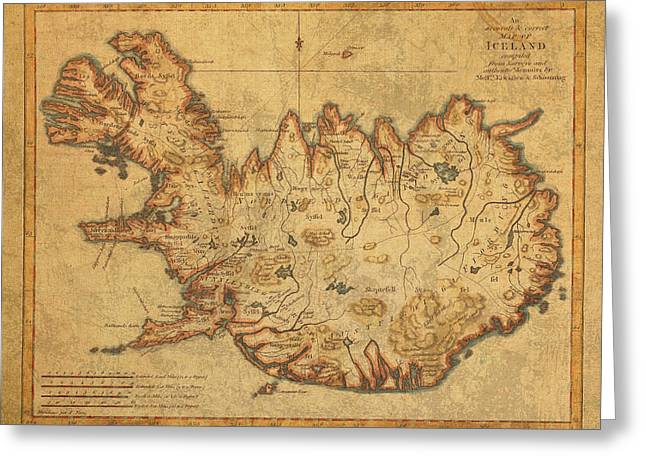 Vintage Antique Map Of Iceland Greeting Card