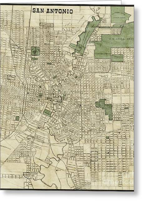 Vintage Antique San Antonio Texas City Map Greeting Card by ELITE IMAGE photography By Chad McDermott