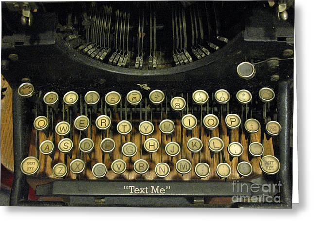 Vintage Antique Typewriter - Text Me - Antique Typewriter Keys Print Black And Gold Greeting Card by Kathy Fornal