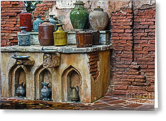 Vintage Antique Water Containers Greeting Card by Gary Keesler