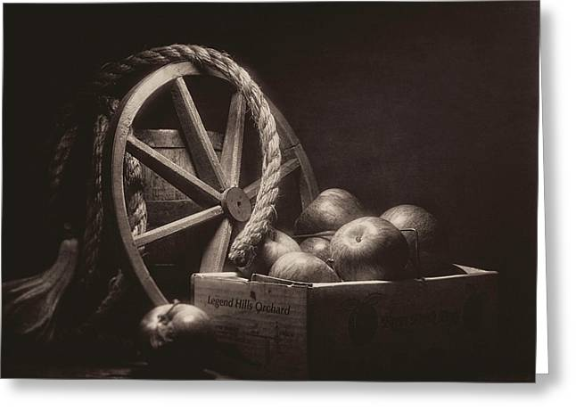 Vintage Apple Basket Still Life Greeting Card by Tom Mc Nemar