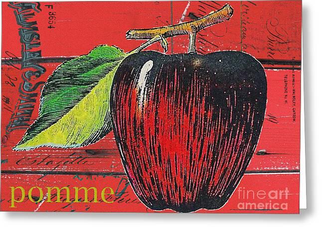 Shopping Bag Greeting Cards - Apple on Farmhouse Red Barn Wood Greeting Card by Anahi DeCanio - ArtyZen Studios
