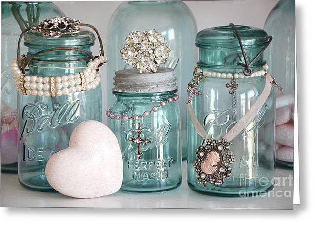 Vintage Aqua Blue Mason Ball Jars Romantic Bejeweled Heart Print And Home Decor Greeting Card by Kathy Fornal