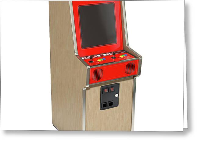 Vintage Arcade Machine Greeting Card