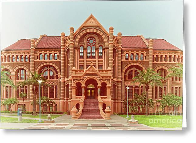 Vintage Architectural Photograph Of Ashbel Smith Old Red Building At Utmb - Downtown Galveston Texas Greeting Card