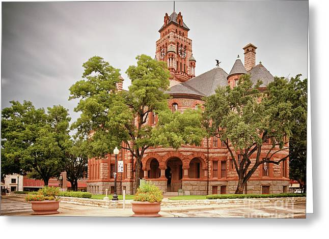 Vintage Architectural Photograph Of The Ellis County Courthouse In Waxahachie - North Texas Greeting Card by Silvio Ligutti