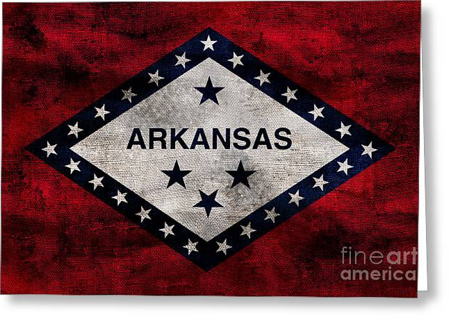 Vintage Arkansas Flag Greeting Card by Jon Neidert