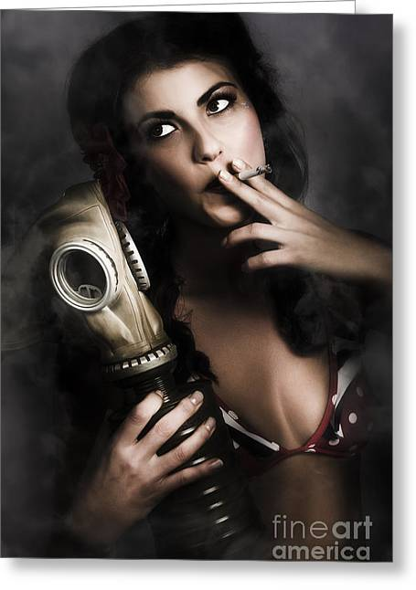 Vintage Army Pinup Girl Holding Gas Mask Greeting Card by Jorgo Photography - Wall Art Gallery