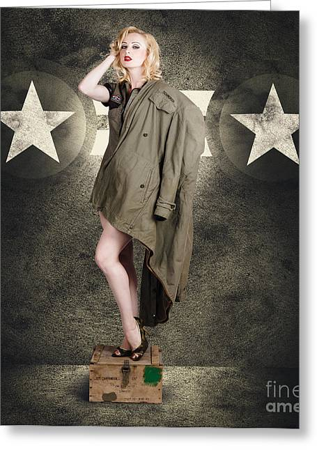 Vintage Army Pinup Woman In Military Fashion Greeting Card by Jorgo Photography - Wall Art Gallery