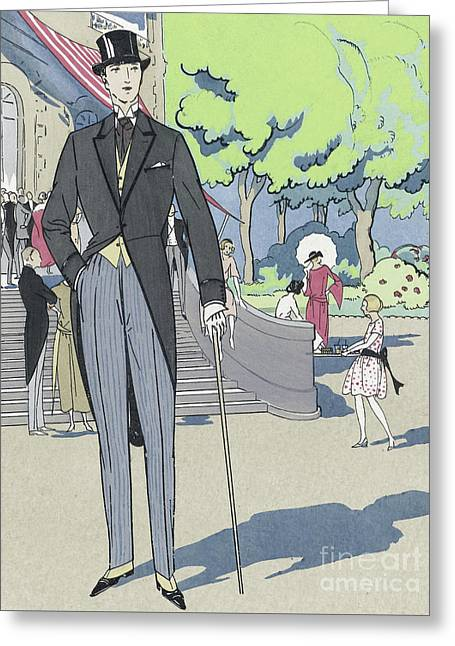 Vintage Art Deco Fashion Print Depicting A Man In Morning Dress Greeting Card by French School