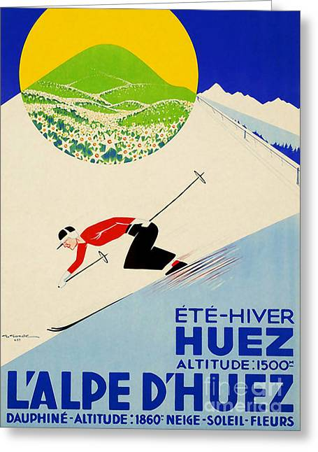 Vintage Art Deco French-swiss Skiing Greeting Card