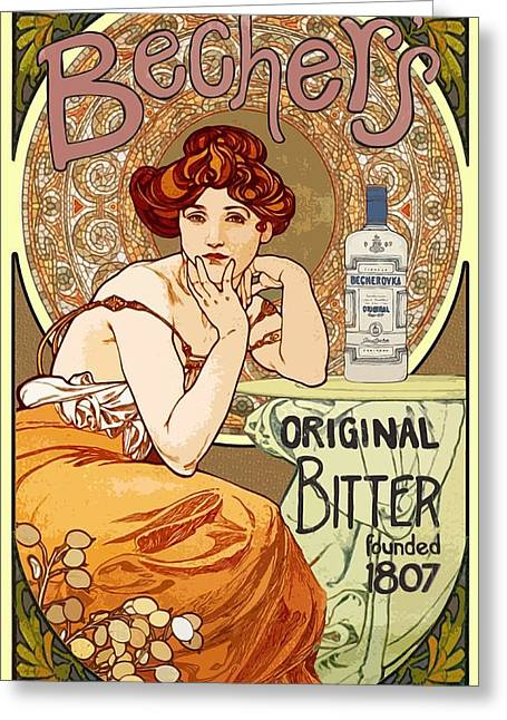 Vintage Art Nouveau Bechers Original Bitter 1807 Greeting Card