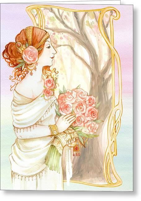 Vintage Art Nouveau Flower Lady Greeting Card