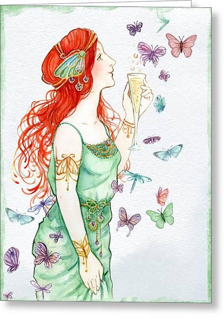 Vintage Art Nouveau Lady Party Time Greeting Card