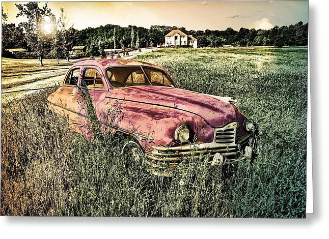 Vintage Auto In A Field Greeting Card