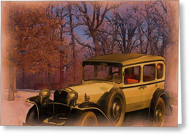 Vintage Auto In Winter Greeting Card