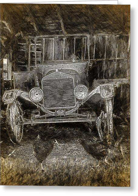Vintage Auto Neglected In A Barn Greeting Card by Randall Nyhof