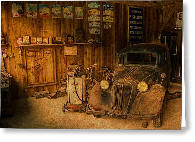 Vintage Auto Repair Garage With Truck And Signs Greeting Card by Design Turnpike
