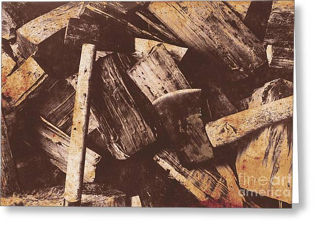 Vintage Axes With On Cut Wood Greeting Card by Jorgo Photography - Wall Art Gallery
