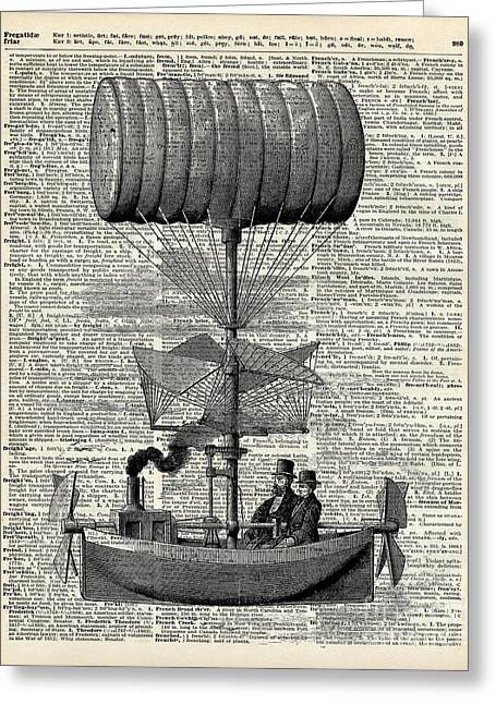 Vintage Ballon Airship  Over A Old Dictionary Page Greeting Card