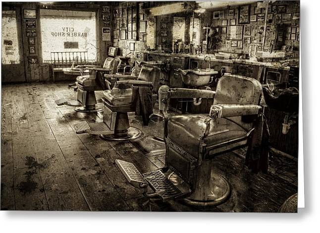 Vintage Barber Shop Greeting Card by Greg Mimbs