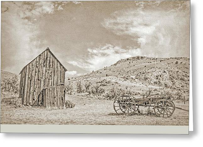 Vintage Barn And Wooden Wagon Greeting Card