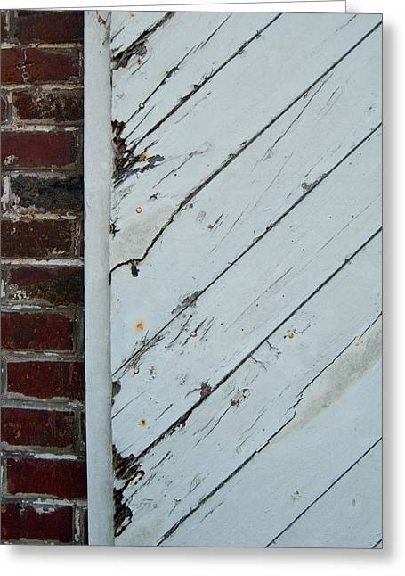 Vintage Barn Door And Red Brick Greeting Card