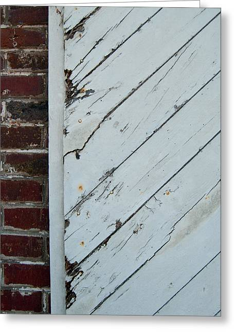 Vintage Barn Door And Red Brick Greeting Card