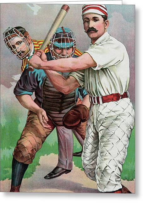 Vintage Baseball Card Greeting Card by American School