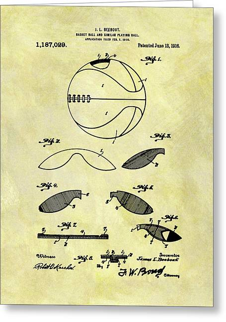 Vintage Basketball Patent Greeting Card by Dan Sproul