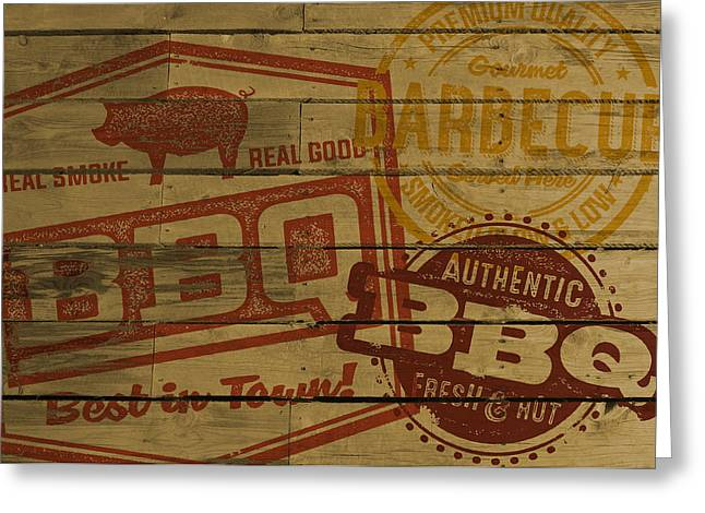 Vintage Bbq Barbecue Sign Greeting Card by David Holm