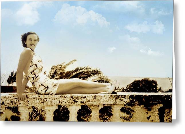 Vintage Beach Beauty Greeting Card