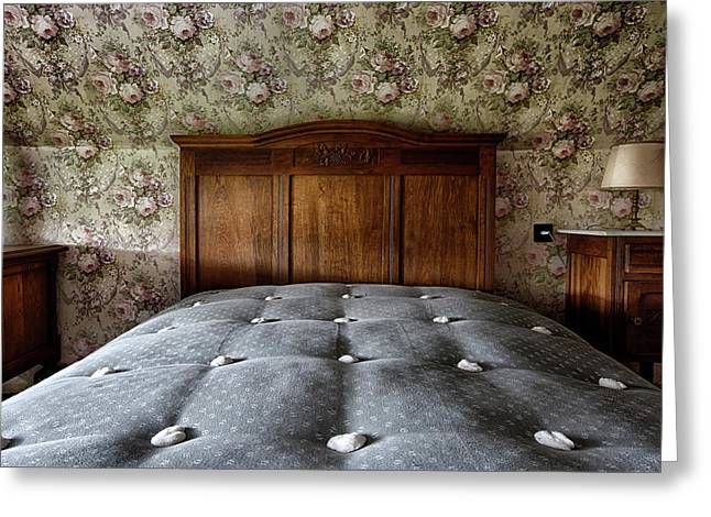 Vintage Bed Room With Retro Wall Paper Greeting Card