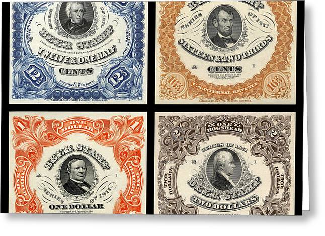 Vintage Beer Taxation Stamps  Greeting Card by Jon Neidert