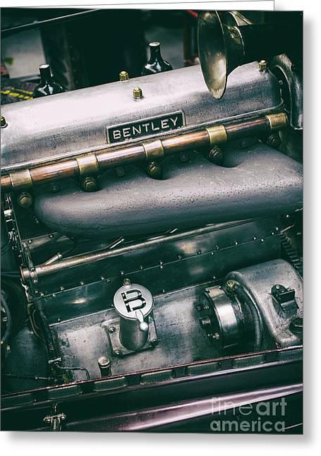 Vintage Bentley Engine Greeting Card by Tim Gainey