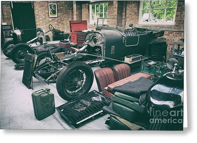 Vintage Bentley Restoration Workshop Greeting Card by Tim Gainey
