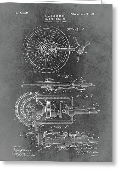 Vintage Bicycle Gear Patent Greeting Card by Dan Sproul