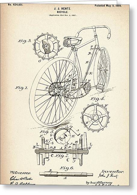 Vintage Bicycle - Patent Drawing For The 1899 J. J. Hentz Bicycle Greeting Card by Jose Elias - Sofia Pereira
