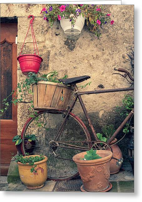 Vintage Bicycle Used As A Flower Pot, Provence Greeting Card