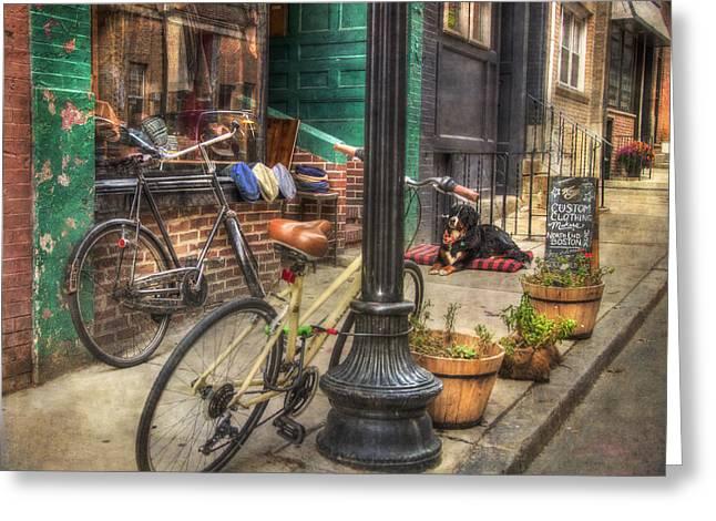 Vintage Bicycles - Boston North End Scenes Greeting Card